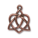 TierraCast Large Celtic Open Heart Drop, Antique Copper